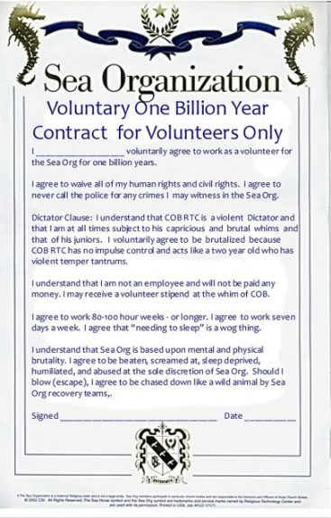 Sea Org Contract Volunteer