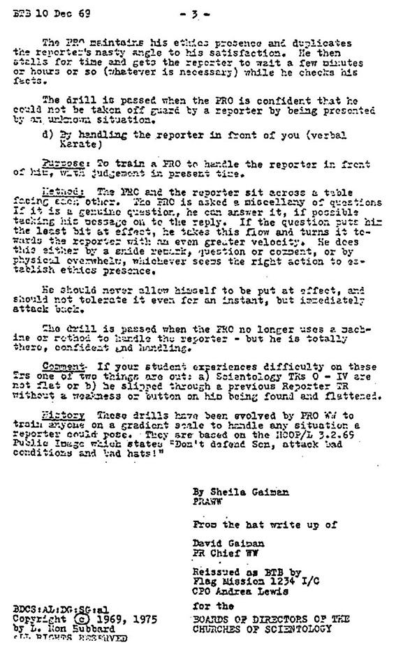 Scientology Reporter TRs-3